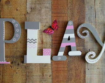 PLAY Sign - Play Letters - Playroom Decor - Kids Room Decor - The Word Play