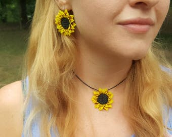 Sunflower earrings and necklace! Perfect gift.