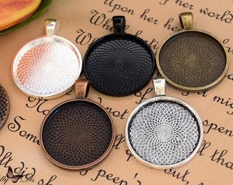 5- 1 inch Bezel Tray base blanks - Blank Bezel Cabochon - Shiny - Antique - Vintage - 5 Colors - Mix N Match