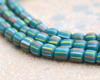 Small Striped Teal Glass Seed Beads, White Yellow Blue Striped Beads, Tube Barrel Beads, Indonesian Lamp Work Glass, 22'' String, BB14-6