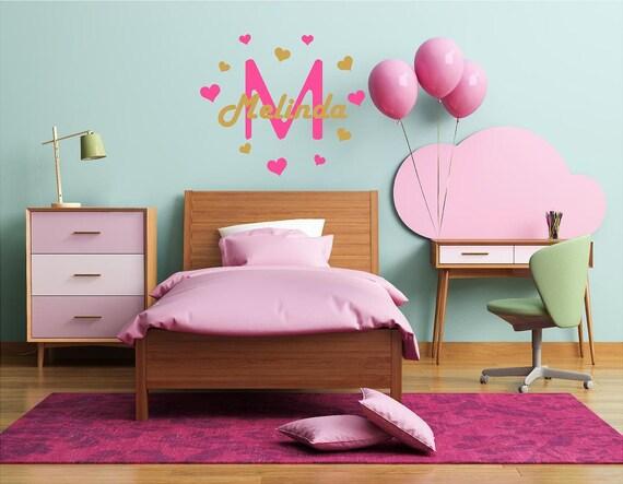 Monogram wall decal, girls name decals, girls nursery wall decor, custom name stickers, little heart decals, mini heart stickers, girl decal