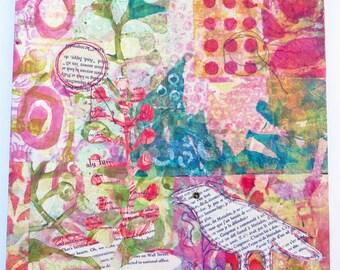 Bonjour Bird ~ mixed media collage
