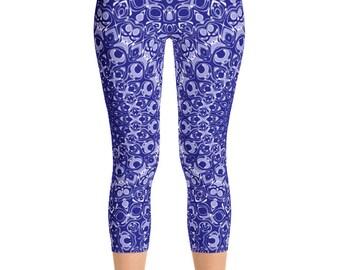 Navy Blue Capris, Leggings for Women, Printed Yoga Leggings, Blue Patterned Capris Leggings