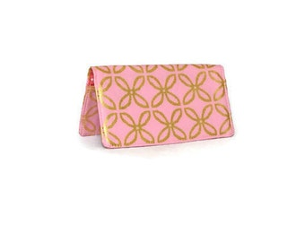 Pink and Gold Fabric Checkbook Cover - Chequebook Cover - Money Envelope - Purse Organizer