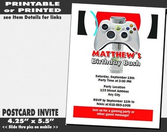 XBox Video Game Birthday Party Invitation Printable With Printed Option Truck Invites Boy