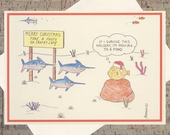 Funny Christmas Card, Santa Card, Christmas Card, Fish Holiday Card, Funny Holiday Card, Quirky Card, Happy Holidays, Funny Xmas Card