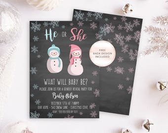 Christmas Gender Reveal Invite, Holiday Gender Reveal Invites, Winter Gender Reveal Invitation, Christmas Party Invites, Boy or Girl 690