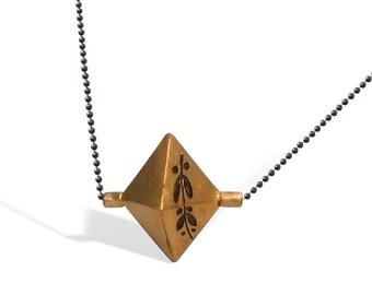 Handmade Engraved Gold Necklace for Women, Elegant Necklace for Her, Minimalist, Unique Design Pendant, Handcrafted Olive Inspired Pendant