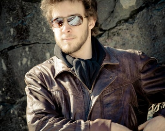 Mens brown upcycled leather sport jacket for men