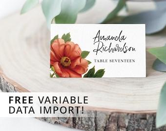 Vintage Peony Flower - Table Place Card, Printable
