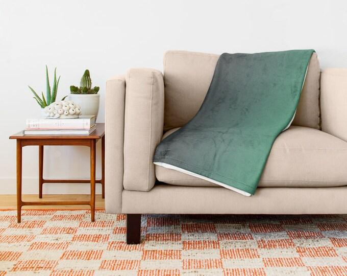 Fleece Throw Blanket - Bedding - Gray to Green Ombre - Soft Fleece Blanket - Made to Order