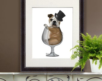 English Bulldog Gift Brandy Glass English Bulldog Print English Bulldog Art funny dog print pet lover gift for husband mens home bar decor