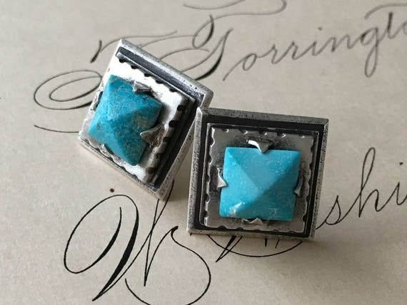 Pyramid Earrings, Turquoise Studs, Architectural Earrings, Rustic Elegance