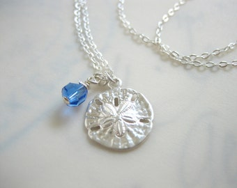 Sand Dollar Birthstone Necklace - Small