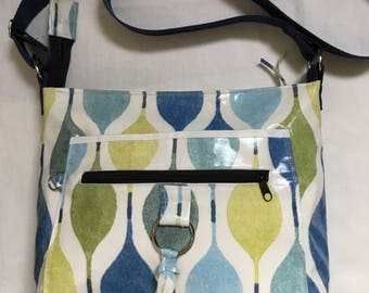 Beautiful blue/green Handmade oilcloth shoulder/cross body bag, fully lined