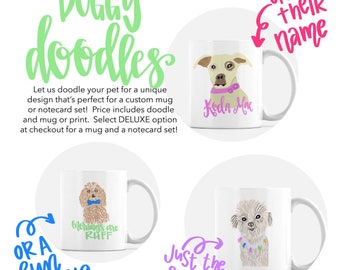 Dog Portrait Art - Gift for Dog Lover - Pet Head Portrait - Pet Portrait Custom - Pet Illustration- Illustrated Pet  - Gift for Her- Pet Art