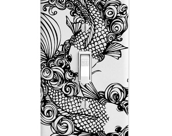 Black Koi Fish Switch Plate Cover, Switchplate, Outlet, Toggle, Rocker, wall decor, Home Decor, Bathroom Decor, Bedroom Decor, Lighting