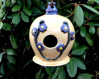 Decorative Ceramic Birdhouse Yellow with Blue Flowers Gift for Her Stoneware Clay Pottery Ready to Ship