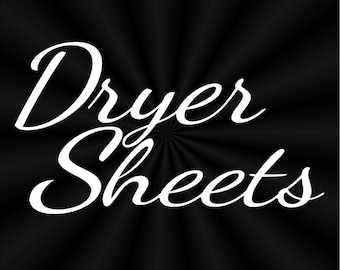 Dryer Sheet Labels, Lettering, Vinyl Decals, Stickers 11170