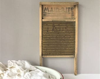 Vintage Washboard, Maid Rite Laundry Board, Brass and Wood Clothes Scrubber, Columbus Washboard Co No 2062, Primitive Scrub Board