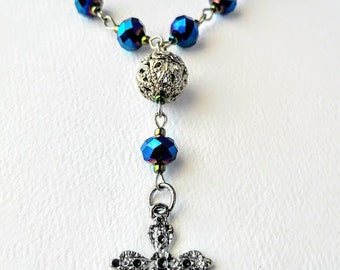 Metallic Blue and Silver Anglican Rosary / Protestant Rosary / Prayer Beads