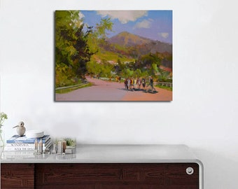 Greenery summer painting, landscape oil painting plein air artwork, Mountain painting, Colorful nature art