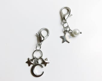 Star and Moon Stitch Markers Set of 2 for Knitting