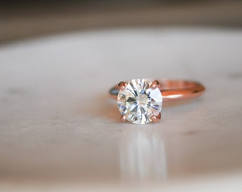 Round Moissanite Solitaire Engagement Ring, Rose Gold Ring, Wedding Ring, Engagement Ring, Moissanite, Forever One Moissanite