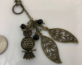 Bronze Owl and Leaves Necklace, Filigree Owl and Leaves Necklace, Lariat Necklace with Filigree Owl and Leaves, Black and Clear Crystals
