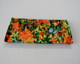 Butterfly Garden Fabric Checkbook Cover