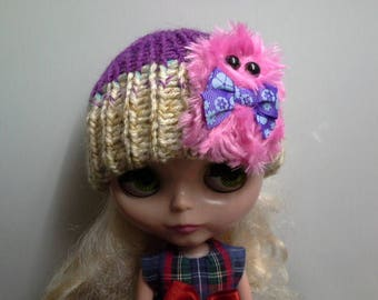 Purple and Beige Knit Hat Beanie for Blythe Doll with Hot Pink Furry Monster