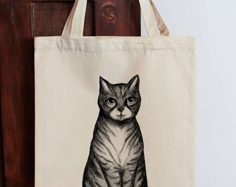 Cat Tote Bag Large Calico Shopping Bag Original Illustration Cat bag, Cat tote bag, Cat Shopping bag, Eco Bag, Cat Lover Gift,  Graphic Tote