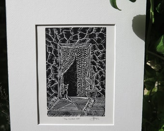 The Hidden Cat -Linocut - Linoprint made with love. Handmade, Black and White Print perfect to decorate any room. Framed in Passpartout.