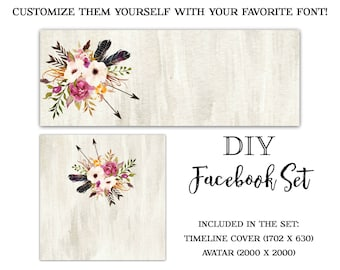 DIY Facebook Set-Flower Facebook Cover-Arrow Facebook Cover-Instant Download