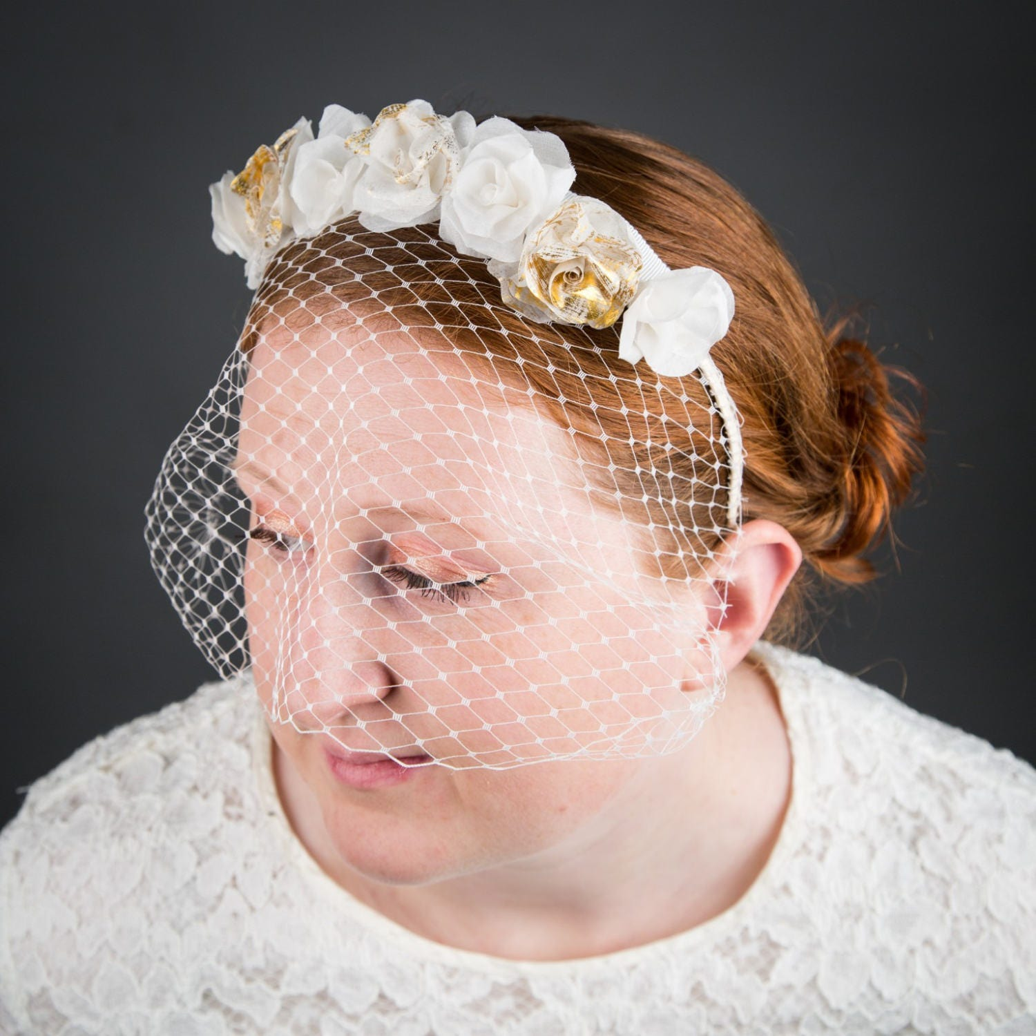 Ivory And Gold Flower Crown With Birdcage Veil Boho Wedding