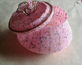 Pink jewelry box, jewelry storage, beaded jewelry box , easter gift basket