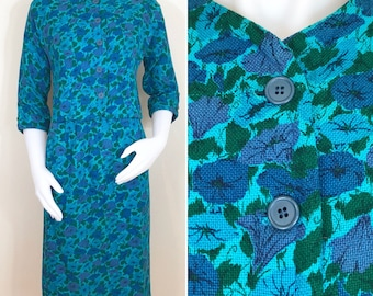 50s 60s Modern Jr. Turquoise Floral Suit, Jacket and Pencil Skirt, Size XS to Small