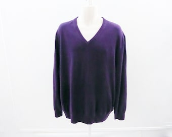 100% Cashmere Sweater Size XXL Purple V Neck Mens Kenneth Roberts 54 Chest