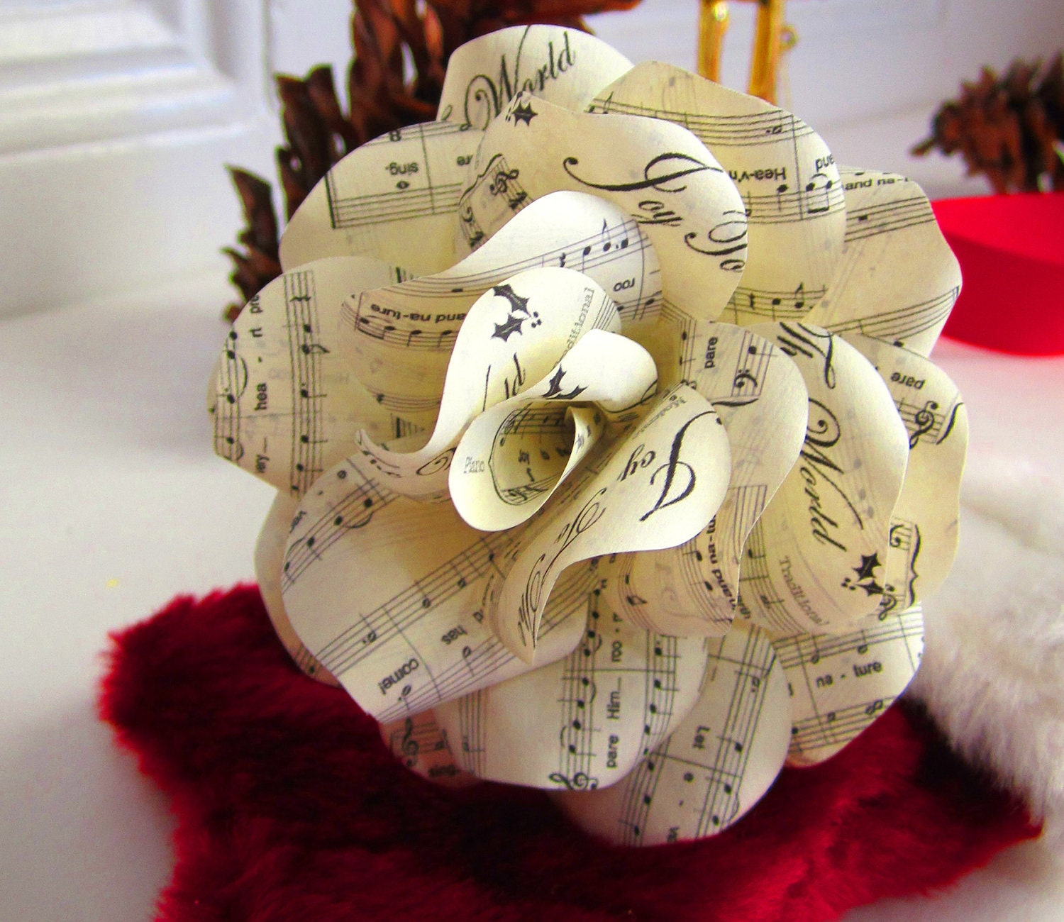 christmas sheet music rose ornaments to decorate your wreath. Black Bedroom Furniture Sets. Home Design Ideas