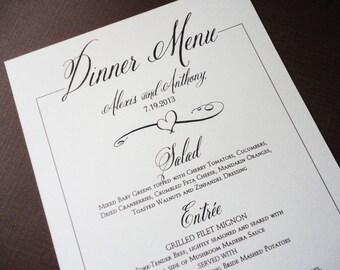 Ivory Wedding Dinner Menus - Rustic Dinner Menus - Ivory Script Menus - Elegant Romantic Vintage Menus - qty of 20+