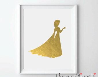 Disney Princess Elsa Gold Foil Print, Gold Print, Custom Print in Gold, Gold Art Print, Princess Elsa Gold Foil Art Print