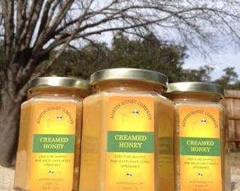 12 oz. Glass hex jar of creamed honey