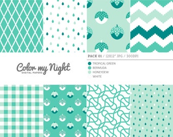 80% OFF SALE Digital Paper Green 'Pack01' Chevron, Gingham, Drops, Fruits, Crosshatch & Abstract Backgrounds for Scrapbook, DIY Projects...