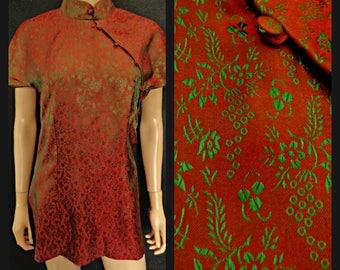 70,s  Vintage Chinese Silk   Oriental Blouse Mandarin Green ar Fine Embroidery Oriental