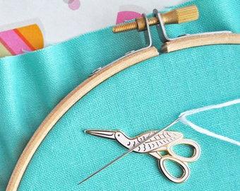 Magnetic needle minder designed by Mollie Johanson from Wild Olive l stork scissors enamel needle keeper