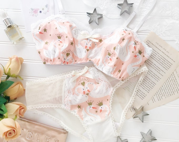 Coral and Ivory 'Princess Swan' Bralette and Panty set.