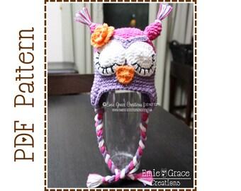Crochet Owl Hat Pattern, Sleepy or Awake Ear Flap,  WHAT - a - HOOT OWL - pdf 106