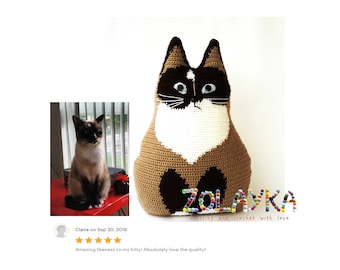 Crochet personalized cat portrait cat memorial lost pet gift look alike cat pillow custom cat pillow, stuffed cat lover gift picture pillow
