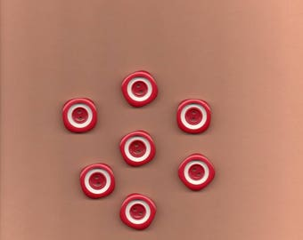 20 buttons red and white o rounded square 2.5 cm