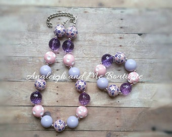 Easter Pink and Purple Chunky Necklace, Pink and Purple Chunky Necklace, Purple Chunky Necklace, Pink and Purple Necklace, Pink and Purple